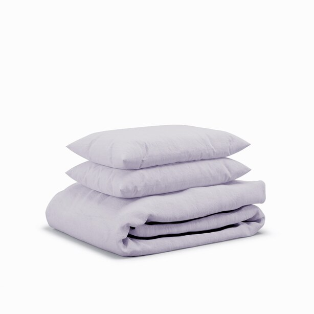 Flax Sleep Linen Duvet Set — Lavender, King