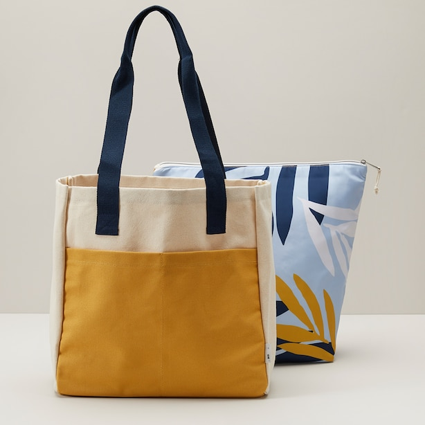 CANVAS COOLER TOTE WITH REMOVABLE POUCH, SUNFLOWER