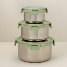 OUI STAINLESS-STEEL FOOD CONTAINERS FERN SET OF 3