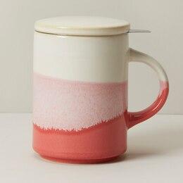DIPPED CERAMIC TEA MUG WITH STRAINER DUSTY ROSE