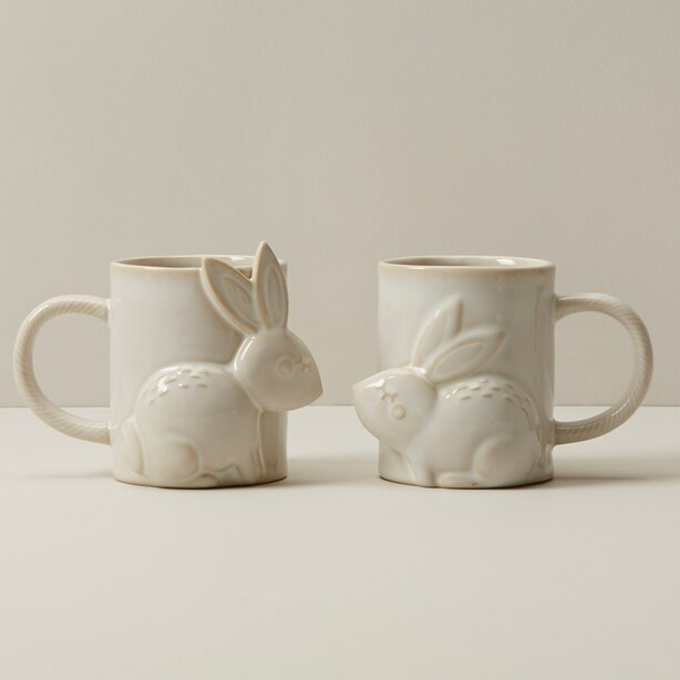 KISSING RABBIT MUGS SET OF 2