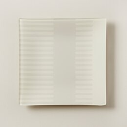 OUI SQUARE GLASS TRAY LIGHT GREY STRIPES MEDIUM