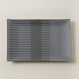 OUI RECTANGULAR GLASS TRAY CHARCOAL GREY STRIPES