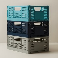 OUI STORAGE CRATES  BLUE LARGE SET OF 3