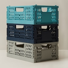 OUI STORAGE CRATES BLUE SMALL SET OF 3