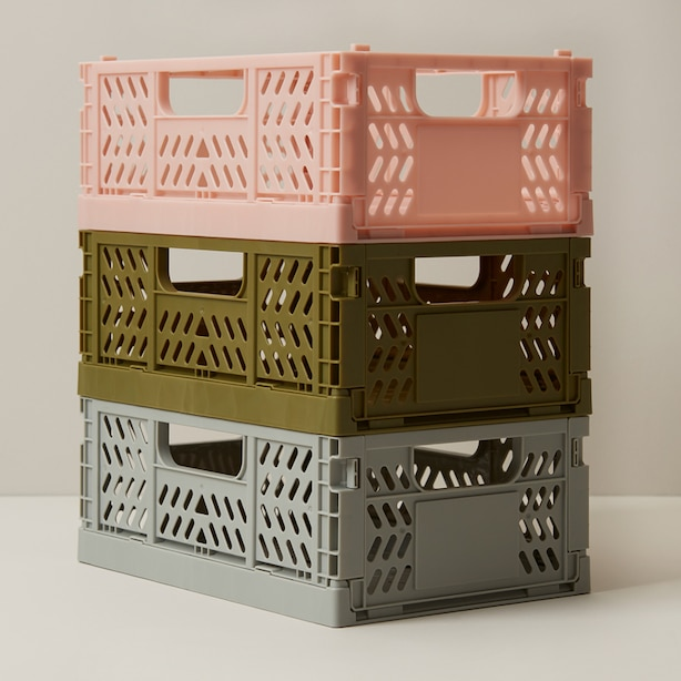 OUI STORAGE CRATES PINK SMALL SET OF 3