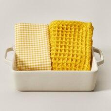 STONEWARE SQUARE BAKING DISH & TEA TOWEL SET,  DOVE/MUSTARD