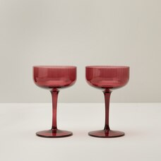 SET OF 2 FLUTED COUPE GLASSES, CRANBERRY
