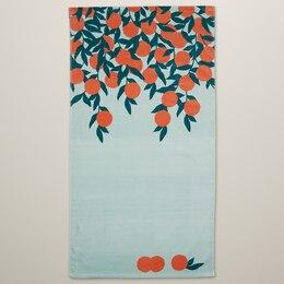 PRINTED BEACH TOWEL, CITRUS TREE