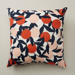 """OUI OUTDOOR PILLOW CITRUS BRANCHES TIGER LILY 18"""" X 18"""""""