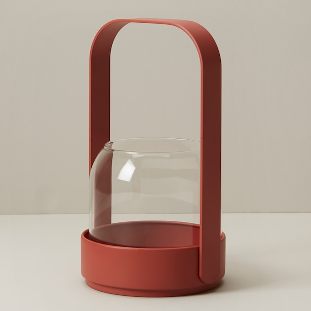 OUI METAL & GLASS LANTERN GERBERA DAISY SMALL