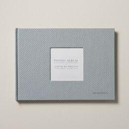 NōTA ARCHETYPE LINEN CUTOUT PHOTO ALBUM LANDSCAPE BLUE GREY