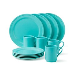 Kate Spade New York® Sculpted Scallop 12-Piece Dinnerware Set – Turquoise