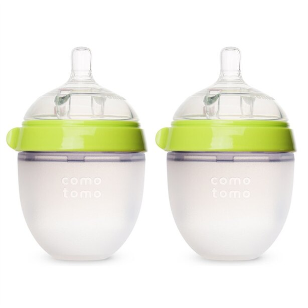 Comotomo Natural Flow Baby Bottle Colic Prevention 2-Pack Green 150 ML