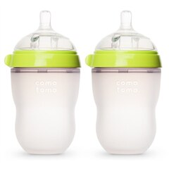 Comotomo Natural Flow Baby Bottle Colic Prevention 2-Pack Green 250 ML