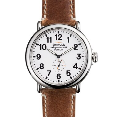 The Runwell 47mm Watch White Dial Largo Tan Leather Strap