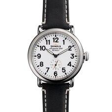 Montre The Runwell de 41 mm, cadran blanc, bracelet en cuir noir