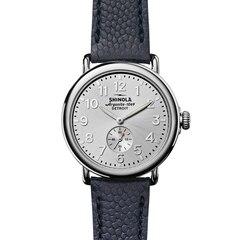 Montre Runwell de 41mm, Cadran argenté, petite seconde, bracelet en cuir marine