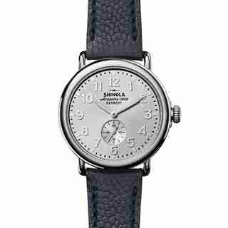 Shinola Runwell Sub-Second 41mm, Silver Dial, Navy Leather Strap