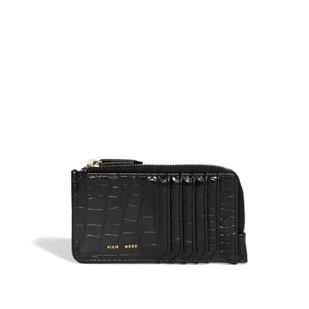 Pixie Mood Quin Card Wallet Black Croc