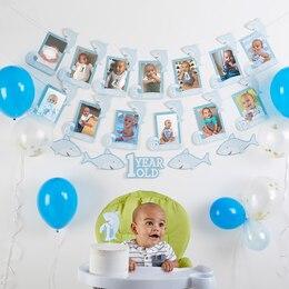 Baby Aspen 1st Birthday Shark Banner and Cake Topper