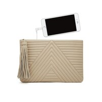 Mighty Purse Smartphone Charging Geo Clutch - Cream by Mighty Purse (934201500459) photo