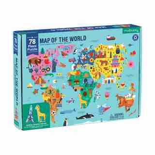 Puzzle - Carte Géographique du Monde, 78 pc