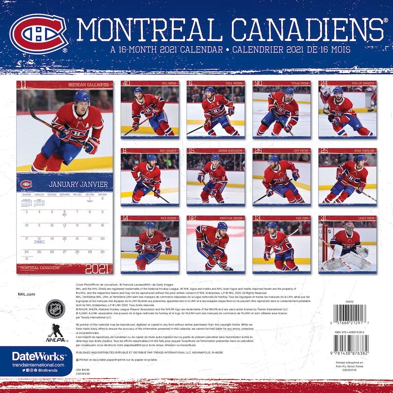 Calendrier Mural 2021 Canadiens De Montreal Bilingue De Dateworks Articles Cadeau Www Chapters Indigo Ca
