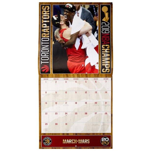 Nba Calendrier 2020.2020 12 Month Wall Calendar Toronto Raptors Nba Champs