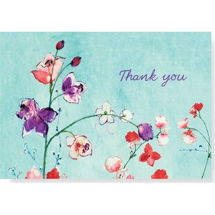Fuchsia Blooms Thank You Notes, Set of 14