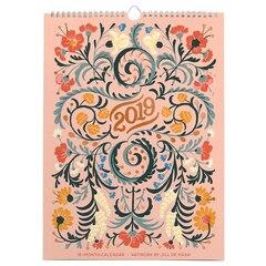 """High Note® 2019 Floral Typography Designer Wall Calendar 16-Month Artwork by Jill De Haan 11""""X15"""""""