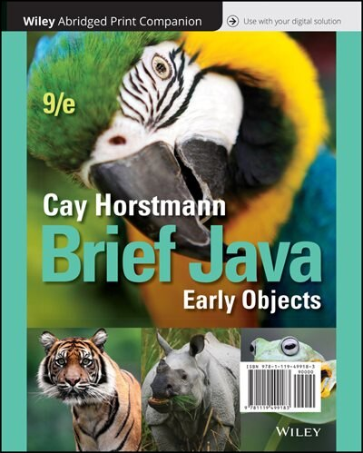 Brief Java: Early Objects by Cay S. Horstmann