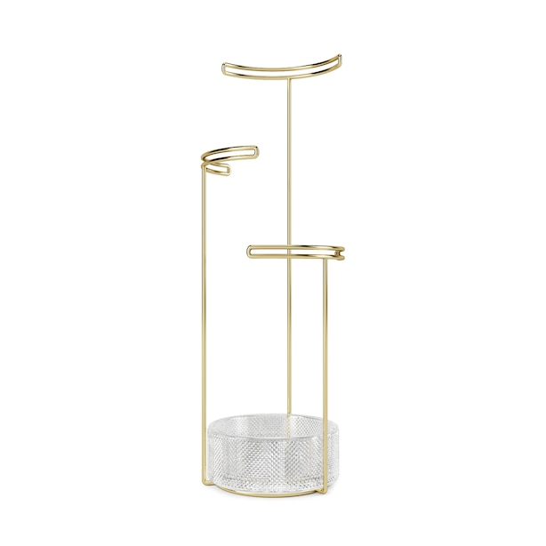 UMBRA TESORA JEWELRY STAND - GLASS/BRASS