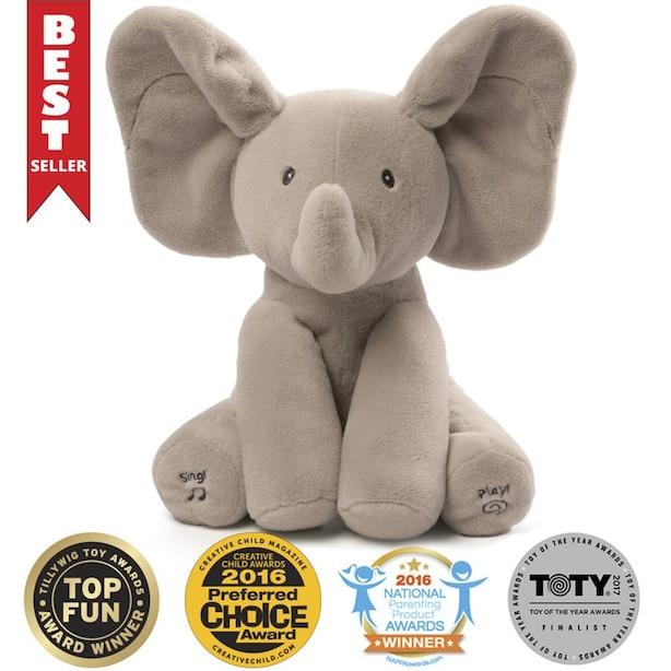 "Baby GUND Animated Flappy the Elephant Stuffed Animal Plush Gray 12"""