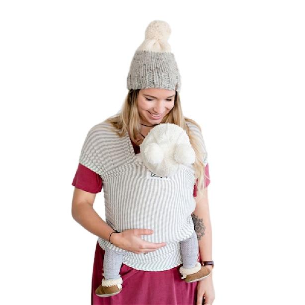 The Shannon Beluga Baby Wrap - Light Grey and Ivory Stripe