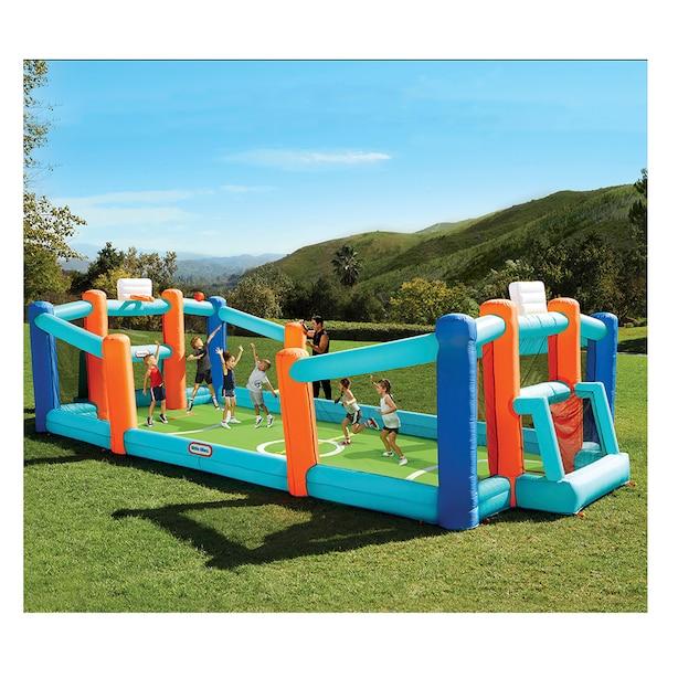 Little Tikes Huge Inflatable Backyard Soccer & Basketball Court for multiple kids