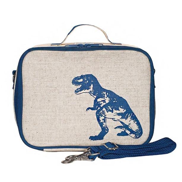 Raw Linen Toddler Lunch Box, Blue Dinosaur