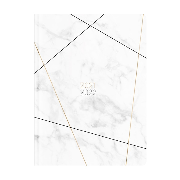 August 2021 - August 2022 WHITE MARBLE WITH LINES PLANNER