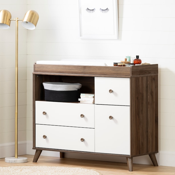 Yodi Changing Table with Drawers, Natural Walnut and Pure White