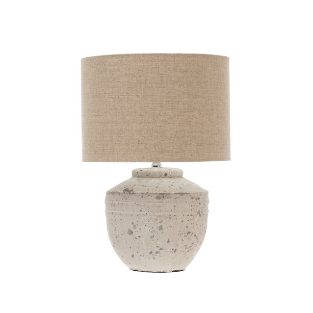 """DISTRESSED CEMENT TABLE LAMP 18"""""""