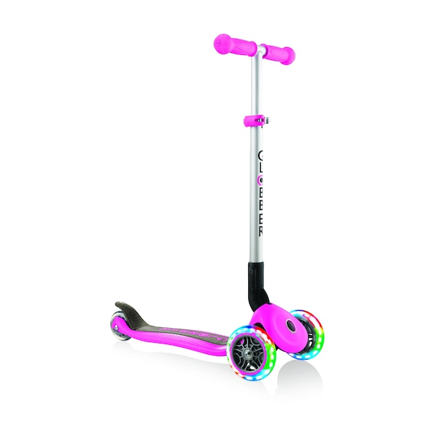 Globber Primo Foldable Scooter with Lights Neon Pink