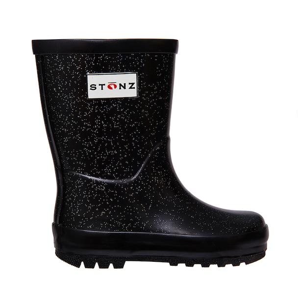 Stonz Rain Boots - Glitter Black 5T