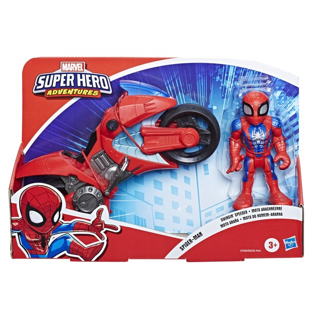 Playskool Heroes Marvel Super Hero Adventures Spider-Man Swingin' Speeder, 5-Inch Figure and Motorcycle Set, Toys for Kids Ages 3 and Up