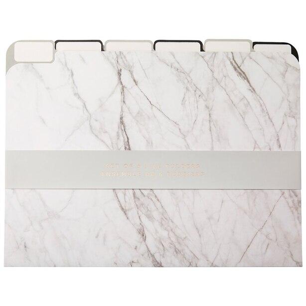 File Folder Marble Black and White Set of 6