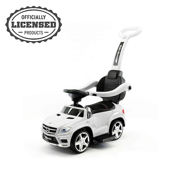 Push Car, Official Licensed Mercedes-Benz AMG GL63 4-in-1 Baby Push Pedal Ride-On Car with Push Bar, Leather Seat, Foot Rest, Full LED Lighting, MP3 and Rocking Chair Rails