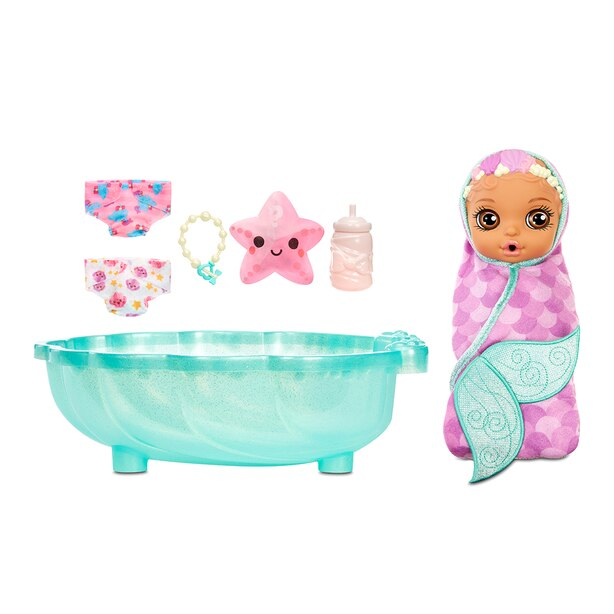 BABY born Surprise Mermaid Surprise – Baby Doll with Purple Towel and 20+ Surprises