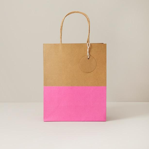 Medium FSC Gift Bag Kraft/Fuschia