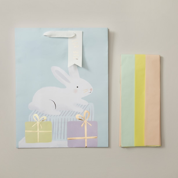 FSC LARGE GIFT BAG AND TISSUE BUNDLE, BABY BUNNY