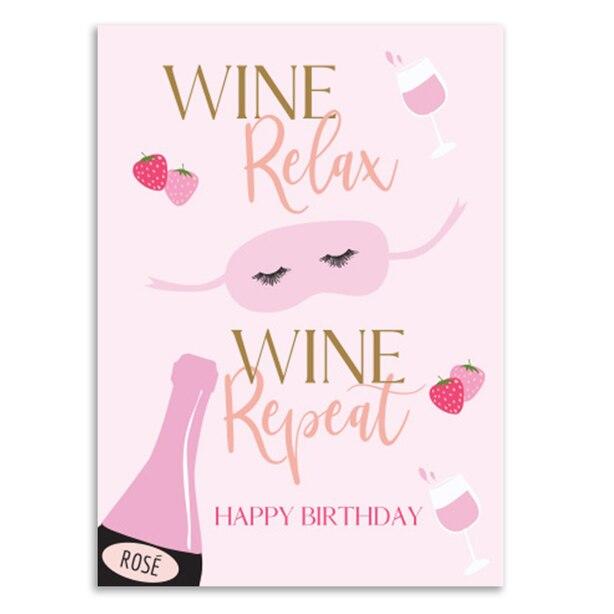 Birthday Card Rose Wine And Eyemask