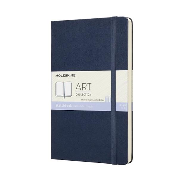 "Moleskine Sketchbook, Plain/Blank, Hard Cover, Medium (4.5"" x 7""), Sapphire Blue"